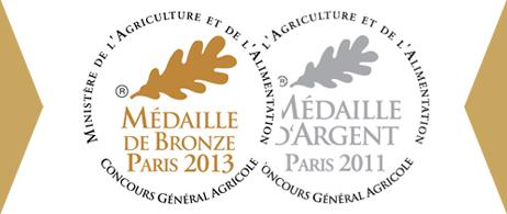 Médailles aux concours agricoles de 2011 et 2013