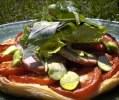 Tarte à la tomate et Morteau, salade de mesclun à la cancoillotte